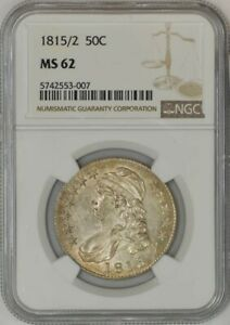 Click now to see the BUY IT NOW Price! 1815/2 CAPPED BUST HALF 50C MS62 NGC 942869 11