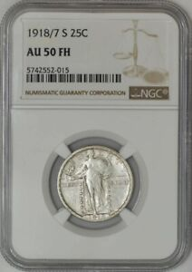 Click now to see the BUY IT NOW Price! 1918/7 S STANDING LIBERTY QUARTER 25C AU50 FH NGC 943213 9