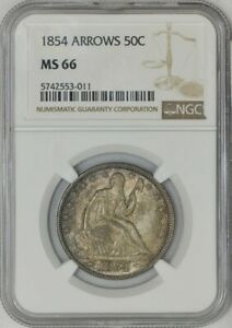 Click now to see the BUY IT NOW Price! 1854 SEATED LIBERTY HALF 50C ARROWS MS66 NGC 943243 1