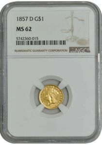 Click now to see the BUY IT NOW Price! 1857 D $ GOLD INDIAN DOLLAR MS62 NGC 942869 13