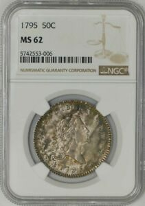 Click now to see the BUY IT NOW Price! 1795 DRAPED BUST HALF 50C O 109 R.4 MS62 NGC 943160 2