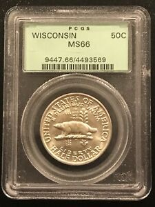 1936 WISCONSIN COMMEMORATIVE HALF DOLLAR PCGS MS 66 OLD GREEN HOLDER PQ GEM