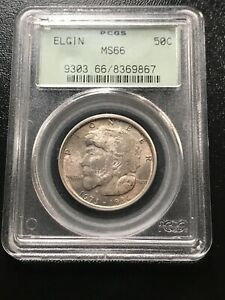 1936 ELGIN COMMEMORATIVE HALF DOLLAR PCGS MS 66 OLD GREEN HOLDER TONED PQ COIN