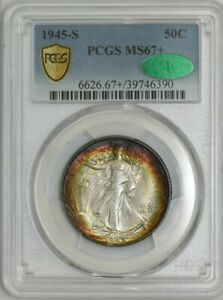 Click now to see the BUY IT NOW Price! 1945 S WALKING LIBERTY HALF 50C MS67  PCGS SECURE CAC 943332 1   FINEST KNOWN