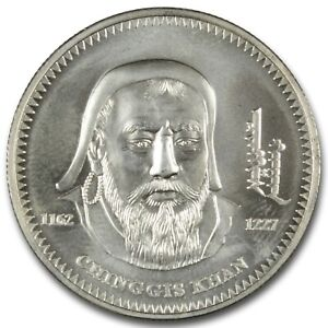 Click now to see the BUY IT NOW Price! 2002 MONGOLIA 1000 TOGROG CHINGGIS KHAN 1OZ .925 STERLING COIN