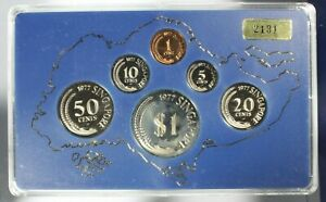 Click now to see the BUY IT NOW Price! 1977 SINGAPORE 6 COIN PROOF SET WITH ORIGINAL CASE & BOX 2131/3500 SOME HAZE