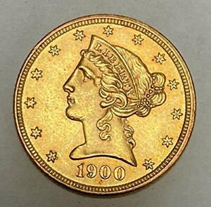 Click now to see the BUY IT NOW Price! 1900 P $5 LIBERTY HEAD GOLD HALF EAGLE UNCIRCULATED   VARIETY 2   MOTTO