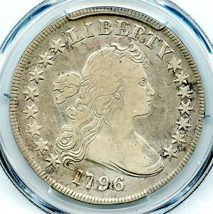 1796 DRAPED BUST LIBERTY SILVER DOLLAR PCGS FINE DETAILS LG DATE SM LETTERS
