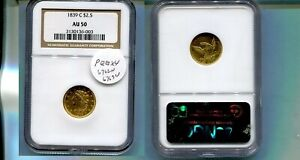1839 C $2 1/2 CLASSIC HEAD GOLD COIN NGC AU50