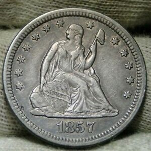 1857 SEATED LIBERTY QUARTER 25 CENTS   NICE COIN   8833