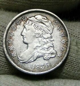 1836 CAPPED BUST DIME 10 CENTS JR2   NICE COIN    8804