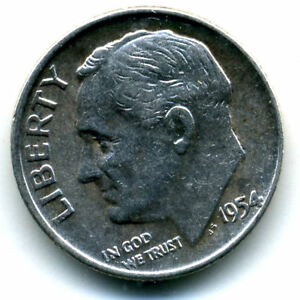 1954 D ROOSEVELT DIME SILVER 10 CENT SHARP ABOVE AVERAGE DETAIL NICE COIN1183