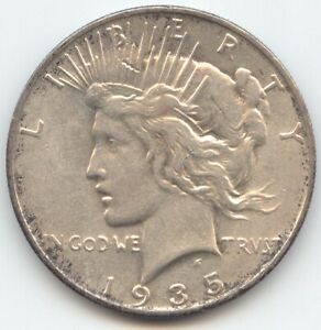 1935 S PEACE DOLLAR LUSTROUS AU LAST YEAR OF ISSUE
