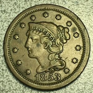 1853 BRAIDED HAIR LARGE CENT VF N 33 R2