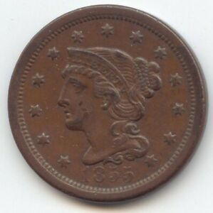 1855 UPRIGHT 5'S BRAIDED HAIR LARGE CENT XF AU