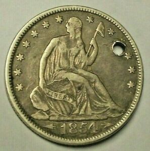 VARIETY 3  1854 ARROWS AT DATE NO RAYS SEATED LIBERTY SEATED SILVER HALF DO