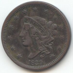 1839 CORONET HEAD LARGE CENT HEAD OF 1838 XF DETAILS