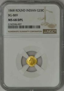 Click now to see the BUY IT NOW Price! 1868 CALIFORNIA FRACTIONAL GOLD ROUND INDIAN 25C BG 889 MS68 DPL NGC 943451 22
