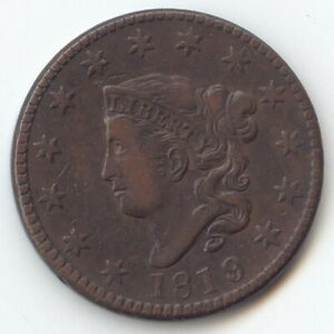 1819/8 OVERDATE CORONET HEAD LARGE CENT ATTRACTIVE VF XF