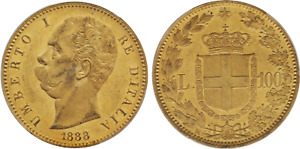Click now to see the BUY IT NOW Price! 1888 ITALY: UMBERTO I GOLD 100 LIRE PCGS MS62