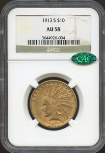 1913 S $10 GOLD INDIAN AU 58 CAC NGC NEAR MINT PQ COIN