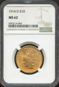 1914 D $10 GOLD INDIAN MS 62 NGC PQ COIN NICE COLOR