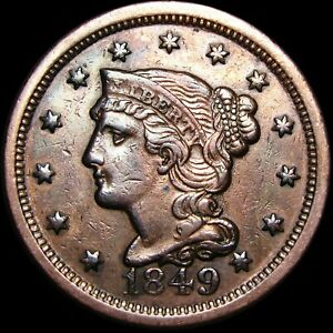 1849 BRAIDED HAIR LARGE CENT PENNY      NICE DETAILS TYPE COIN      H427