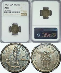 Click now to see the BUY IT NOW Price! 1903 S US/PHILIPPINES 10 CENTAVOS   NGC MS63    KEY DATE   ALLEN7.02   004