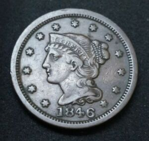 1846 US BRAIDED HAIR LARGE 1C ONE CENT 174 YEARS OLD BRONZE COIN