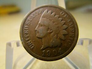 1904 AVERAGE CIRCULATED INDIAN HEAD PENNY