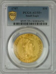 1797 $10 GOLD CAPPED BUST SMALL EAGLE AU55  PCGS SECURE 943606 9