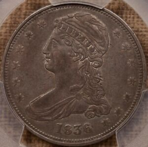 1836 GR 1 REEDED EDGE BUST HALF PCGS XF45 PLEASING & TOUGH  DAVIDKAHNCOINS