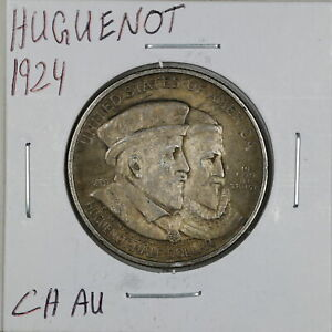 1924 50C HUGUENOT COMMEMORATIVE HALF DOLLAR IN CHOICE AU CONDITION 02286