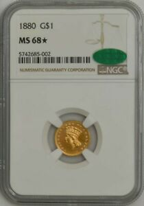 Click now to see the BUY IT NOW Price! 1880 GOLD INDIAN DOLLAR MS68  NGC CAC 943584 2