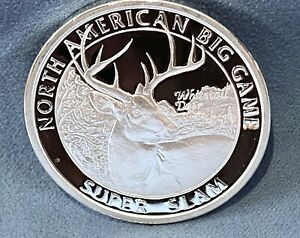 WHITE TAIL DEER NORTH AMERICAN HUNTING CLUB BIG GAME SUPER SLAM SILVER PLATED