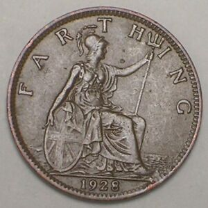 1928 UK GREAT BRITAIN BRITISH FARTHING KING GEORGE V COIN VF