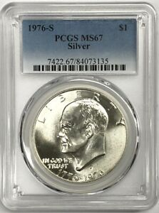 Click now to see the BUY IT NOW Price!  4  FOUR 1976 S EISENHOWER   40   SILVER DOLLAR   PCGS MS 67 LOT OF 4 COINS 4