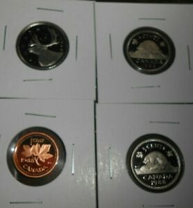 LOT OF 4 CANADA PROOF 1988 COINS 1 CENT 10 CENTS 5 CENTS 25 CENTS COINS  FREE SH