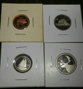 LOT OF 4 CANADA PROOF 1984 COINS 1 CENT 10 CENTS 5 CENTS 25 CENTS COINS  FREE SH