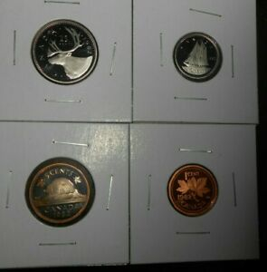 LOT OF 4 CANADA PROOF 1982 COINS 1 CENT 10 CENTS 5 CENTS 25 CENTS COINS  FREE SH
