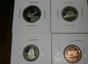 LOT OF 4 CANADA PROOF 1986 COINS 1 CENT 10 CENTS 5 CENTS 25 CENTS COINS  FREE SH