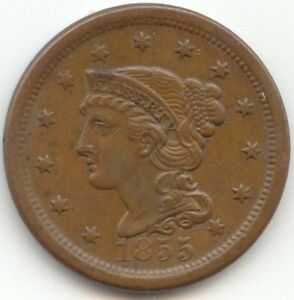 1855 UPRIGHT 5'S BRAIDED HAIR LARGE CENT AU