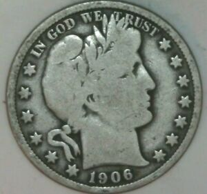 1906 P BARBER HALF DOLLAR VG CONDITION   05