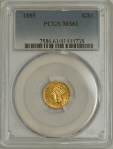 1885 $ GOLD INDIAN DOLLAR MS61 PCGS 943677 1
