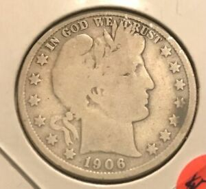 1906 D BARBER HALF DOLLAR   G/VG STAINED