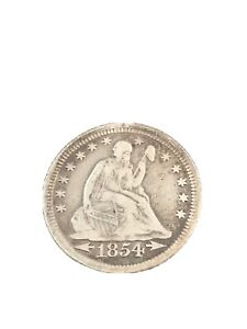 1854 WITH ARROWS SEATED LIBERTY QUARTER XF