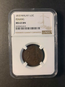 Click now to see the BUY IT NOW Price! MALAYSIA   PENANG 1/2 CENT 1810 BEAUTIFUL UNCIRCULATED NGC MS63