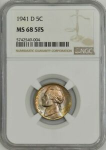 Click now to see the BUY IT NOW Price! 1941 D JEFFERSON NICKEL 5C MS68 5FS NGC 941747 1