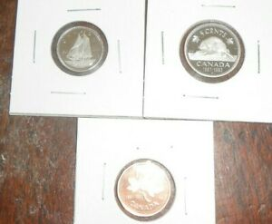 CANADA LOT OF 3 1991 PROOF COINS  10 CENT 5 CENTS PENNY
