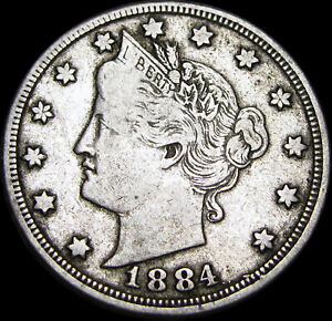 1884  LIBERTY V NICKEL MISPLACED DATE?       MISPLACED DATE ERROR?      Z387